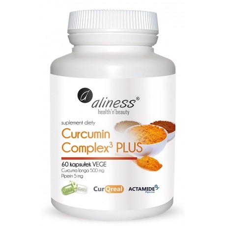 Aliness - Curcumin Complex3 PLUS Curcuma longa 500 mg Piperin 5 mg 60 kapsułek - suplement diety