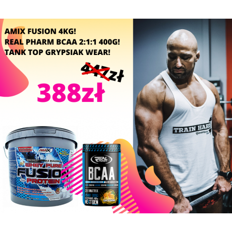 Zestaw Amix Whey Pure Fusion 4000 g + Real Pharm BCAA 400 g + Tank-top
