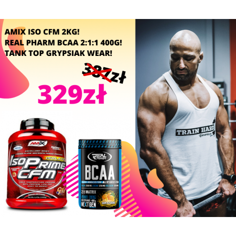 Zestaw Amix ISO Prime CFM 2000 g + Real Pharm BCAA  2:1:1 400 g + Tank Top