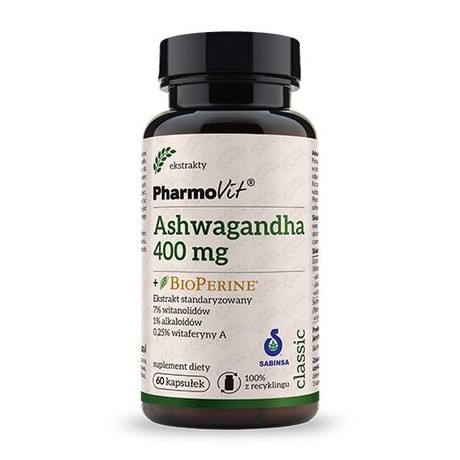 Pharmovit - Ashwagandha + bio perine – 60 cap – suplement diety.